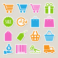 Shopping sticker icons set. Royalty Free Stock Photo