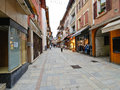 Shopping street of bourg saint maurice village france march is part paradiski ski area Stock Photography