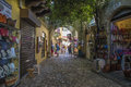 Shopping street in the old town of rhodes photo is shot when we were on vacation greece september Stock Photos