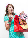 Shopping teen girl excited and wondered. Stock Photo