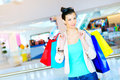 Shopping time young beautiful elegant woman enjoying Royalty Free Stock Photos