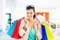 Shopping time young beautiful woman enjoying Royalty Free Stock Images