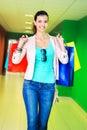 Shopping time young beautiful woman enjoying Stock Images