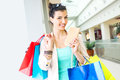 Shopping time young beautiful woman enjoying Royalty Free Stock Photo