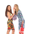 Shopping and tourism concept beautiful girls with bags studio Royalty Free Stock Photography