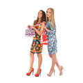 Shopping and tourism concept beautiful girls with bags studio Stock Images