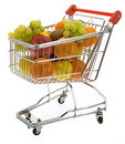 Shopping trolley with fruits, supermarket Royalty Free Stock Image