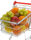 Shopping trolley with fruits, supermarket Stock Photos