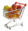 Shopping trolley with fruits, supermarket Stock Photo