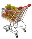 Shopping trolley with fruits, supermarket Royalty Free Stock Photos