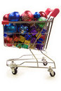 Shopping trolley full of christmas decorations 2 Stock Photo