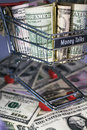 Shopping trolley full dollar bill greenback Stock Images