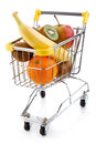 Shopping trolley full products white background Royalty Free Stock Images