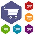 Shopping trolley icons set hexagon