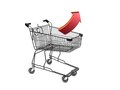 Shopping a trolley isolated against a white background Royalty Free Stock Image