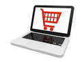 Shopping trolley on laptop screen Royalty Free Stock Photography