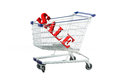 Shopping trolley sale offers in trolley isolated over white Stock Photo