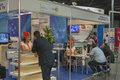 Shopping tv channel booth visitors visit at kyiv international exhibition and conference in broadcast industry in kiev ukraine Stock Image