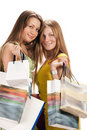 Shopping. Two beautiful girl with bag Stock Photo