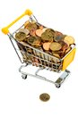 Shopping vart with euro coins a cart is filled symbolic photo for purchasing power and consumption Royalty Free Stock Photos