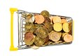 Shopping vart with euro coins a cart is filled symbolic photo for purchasing power and consumption Stock Photos
