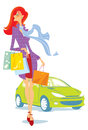 Shopping vector illustration girl after purchases of things in boutiques Royalty Free Stock Photography
