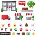 Shopping vector set. Icons set. Modern flat design. Royalty Free Stock Photo