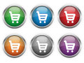 Shopping web buttons six colors Stock Image