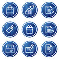 Shopping web icons, blue circle buttons series Stock Images