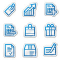 Shopping web icons, blue contour sticker series Royalty Free Stock Photo