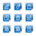 Shopping web icons, blue sticker series Royalty Free Stock Photo