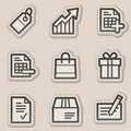 Shopping web icons, brown contour sticker series Royalty Free Stock Images