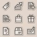 Shopping web icons, brown contour sticker series Royalty Free Stock Photo