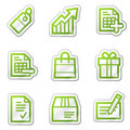 Shopping web icons, green contour sticker series Royalty Free Stock Image