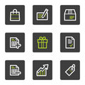 Shopping web icons set 1, grey square buttons Stock Images