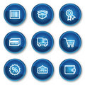 Shopping web icons set 2, blue circle buttons Royalty Free Stock Photography