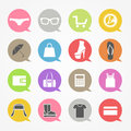 Shopping web icons set in color speech clouds Royalty Free Stock Photo