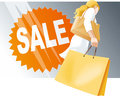 Shopping woman with bags sale sign on shop window copy space on the bag vector illustration Royalty Free Stock Photography