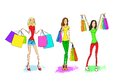 Shopping woman with bags set, fashion girl Royalty Free Stock Photo