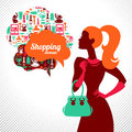 Shopping woman elegant stylish design Stock Photos