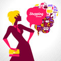 Shopping woman elegant stylish design Royalty Free Stock Photography