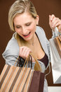 Shopping woman fashion happy bag Royalty Free Stock Image