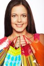 Shopping woman happy holding bags beautiful Stock Photos