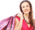 Shopping woman happy holding bags beautiful Stock Image