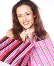 Shopping woman happy holding shopping bags. Stock Photography