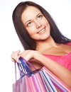 Shopping woman happy holding shopping bags beautiful Stock Photo