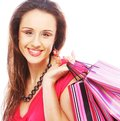 Shopping woman happy holding shopping bags beautiful Royalty Free Stock Image