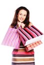 Shopping woman happy holding shopping bags beautiful Royalty Free Stock Photos