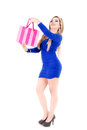 Shopping woman holding bags, set Stock Photography