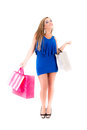 Shopping woman holding bags, white background Stock Image